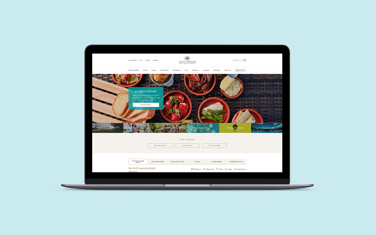 web design mockup of the Celtic Manor Website