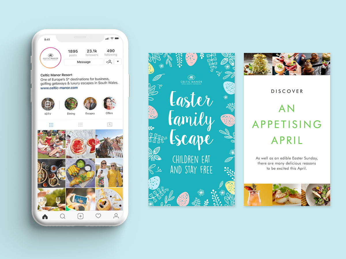 Phone mockups with Instagram stories designs